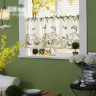 Village Fine embroidery butterfly ivory green Home Kitchen window Cafe Curtain