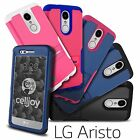 For LG Aristo LV3 MS210 Grip Shell Hybrid Shockproof Kickstand Rugged Hard Case