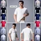 Mens 100% Pure Silk Knitted T Shirts Casual Tee Tops Size M-3XL AF221