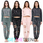 WOMENS FULL LENGTH HOODED TRACKSUIT GIRLS GRAFFITI CROP TOP PANTS SET 2 PC SUIT