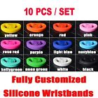 10pcs Adult/Youth Silicone Bracelet Rubber Wristbands Multi color Customize Band