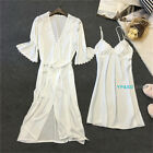2pcs Women's lace Satin Nightie Gown Lingerie Sleepwear Pyjamas Set Robe + Dress