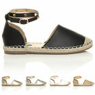 WOMENS LADIES FLAT STUDDED ANKLE STRAP ESPADRILLES SUMMER SHOES SANDALS SIZE
