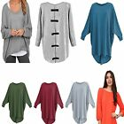 New Womens Ladies Plain Oversized Bow Back Baggy Batwing Wear Long Top