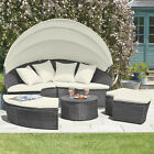 Rattan Daybed & Table Garden Furniture Outdoor Patio Lounger Sofa Canopy Set New