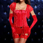 Slash Neck Criss Cross Lace Up Front Red Satin Corset Sexy Victorian Bustiers