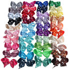 "4"" Inch Polka Dot Ribbon Hair Bow Alligator Clip Girls Hair Pin Hairclip UK Stoc"
