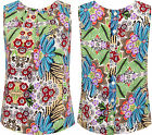 Womens Sleeveless Pleated Top Ladies Floral Print Button Up Back Fastening 8-14