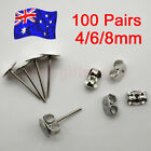 200PCS Earring Stud Posts 4mm/6mm/8mm Pads & Nut Backs Silvery Surgical Steel