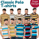 Men's Striped Rugby Style Short Sleeve Polo Shirts Cotton Rich Sports Top New