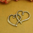 31x19mm Antique silver heart linked to heart Tibetan Jewellery Pendants Charms