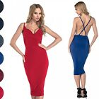 Glamour Empire. Women's Bodycon Silky Midi Strappy Dress Cross Back Design. 215