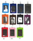 Durable 4 layers PU Leather Vertical ID Badge Holder w/ ID Window and Card Slot