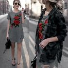 Women Long T-shirt Tops Ladies Flower Dress Short Sleeve Embroideried Dress Top