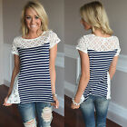 Sexy Womens Short Sleeve Crew Neck Lace Flower T-Shirt Ladies Summer Tops Blouse