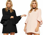 Womens Baggy Flared Mini Dress Ladies Long Bell Sleeve Plain Stretch New 8-16