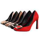 VIC Women Formal Work High Heels Buckle Square Toe Suede Pumps Party Bride Shoes
