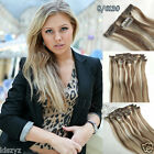 Clip in 100% Remy Human Hair Extensions 7pcs/set  #8/613 Brown/bleach Blonde