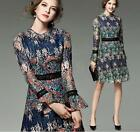 Womens Printed Floral Cheongsam Stand Collar Dress Slim Fit Dresses Bell Sleeves