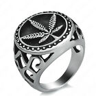Men's Marijuana Leaf Cannabis Silver Stainless Steel Ring Size 8-13