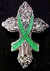 Green Awareness Ribbon Pin Religious Cross Cancer Cause Church Inspire New