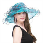 Kentucky Derby Hat Women Wide Brim Double Layer Noble Tea Party Noble Flower Hat