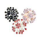 Chic Flower Shape Rhinestone Faux Pearl Snaps Buttons Fit 18mm