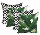 Qty 4 - In / Outdoor Green Palm Leaf & Black White Aztec Pillows - Choose Size
