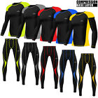 Mens Compression Tights+Top Set Armour Base Layer Gym Fitness Tights shirt Yoga