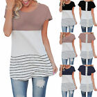 UK Women Short Sleeve Striped Back Lace T-Shirt Ladies Summer Casual Tops Blouse