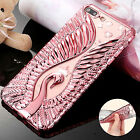 Luxury Swan Bling Diamond Soft TPU Shockproof Case Cover For iPhone 6 6S 7 Plus