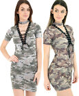 New with Tag Camouflage Print Lace Up Chokerneck Short Sleeve Bodycon Dress Top