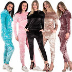 New Womens Soft Velour Frill Two Piece Party Loungewear Set Size 8-14