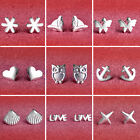 1 Pair 9 Type Girls Anchors Star Butterfly Silver Plated Earrings Ear studs WS
