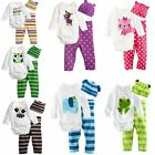 3pcs Infant Romper Pants Hat Trousers Baby Grow Boy Girl Outfits Clothes 0-18 M