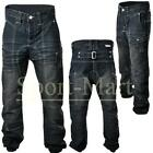 Mens Soulstar Drop Crotch Crease Jeans Cuffed Hem Trousers Waist