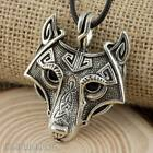 Viking Fenrir Wolf Head Pendant With Cotton Cord Necklace 4 Colours Available