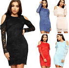 Womens Cut Out Cold Shoulder Dress Ladies Floral Lace Frill Long Sleeved Lined