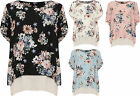 Plus Womens Lined Floral Print Top Ladies Short Tab Sleeve Round Neck New 16-26