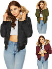 Womens Padded Puffa Bomber Jacket Ladies Faux Fur Hooded Zip Long Sleeve 8-14