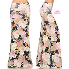 Elegant Rose Floral Navy high waist fold over maxi long skirt (S/M/L/XL)