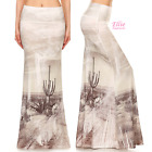 Cactus desert brush high waist fold over maxi long skirt (S/M/L/XL)