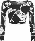 Womens Monochrome Letters Text Print Long Sleeve Short Stretch Ladies Crop Top