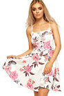 Womens Strappy Flared Skater Dress Ladies Eyelet Tie Up Sleeveless Floral Print