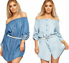 Womens Off Shoulder Denim Mini Gypsy Dress Top Ladies Bardot Belted Short Sleeve