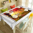 Red Leaves Tree 3D Tablecloth Table cover Cloth Rectangle Wedding Party Banquet