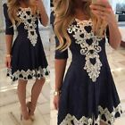 2017 New Women's Summer Lace Long Sleeve Party Evening Cocktail Short Mini Dress