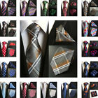 Classic Mens Silk Tie Pocket Square Set Dot Paisley Party Handkerchief Neck Ties