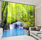 Green Tree Stream 3D Blockout Photo Mural Printing Curtains Draps Fabric Window