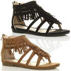 WOMENS LADIES FLAT ZIP STRAPPY SUMMER T-BAR TASSEL FRINGE GLADIATOR SANDALS SIZE